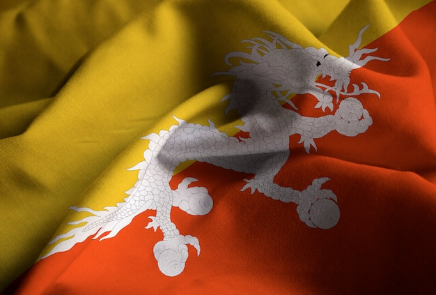 Ruffled flag of bhutan blowing in wind