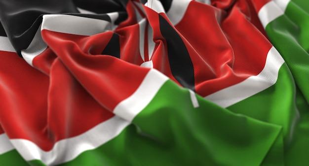 Флаг кении ruffled красиво машет макрос крупным планом выстрел