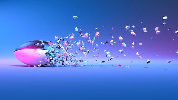 Мяч для регби падает на мелкие кусочки при неоновом освещении, 3d иллюстрация