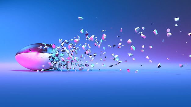 Rugby ball falling into small pieces in neon lighting, 3d illustration