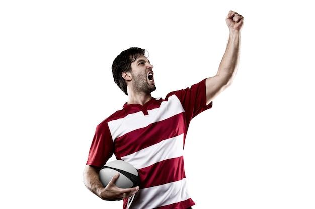 축 하하는 빨간색 제복을 입은 럭비 선수.