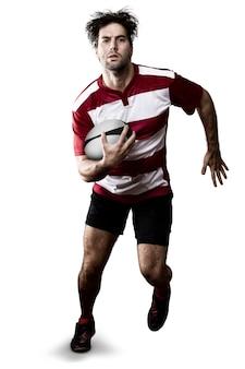 빨간색 유니폼 실행에 럭비 선수입니다.