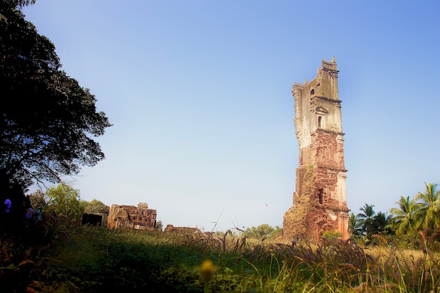 Ruin of church in goa in india