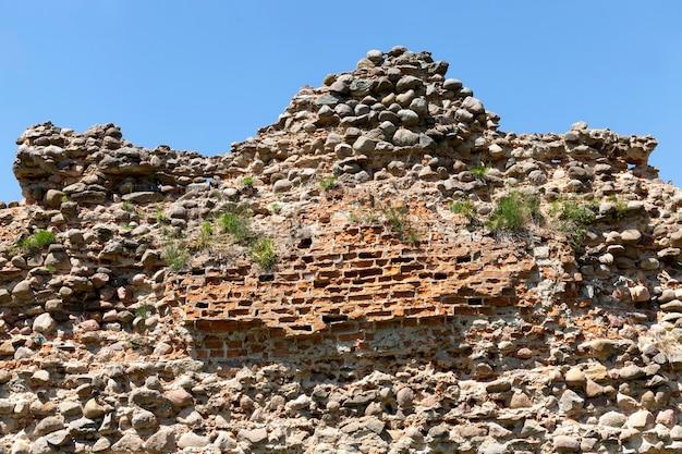 古代の要塞の草の廃墟と石とレンガ、中世の防御構造の廃墟で荒廃し、生い茂っています