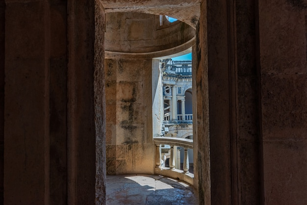 Ruined balcony in the convent of christ under sunlight in tomar in portugal