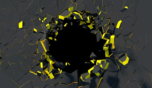 Ruined black concrete wall with golden rim in 3d rendering