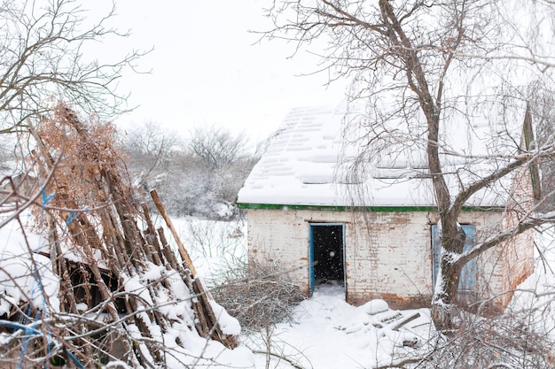 Ruined building covered in snow