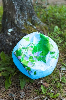 Ruined globe ball on grass