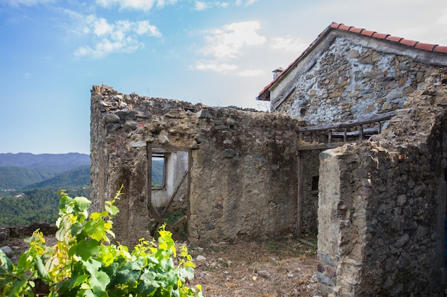 The ruins of an abandoned country house