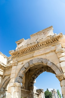 The ruins of the ancient antique city of ephesus the library building of celsus, the amphitheater temples and columns.