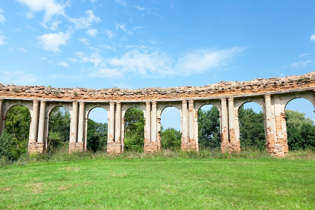 Ruins of the ancient castle in the village of ruzhany territory of the republic of belarus