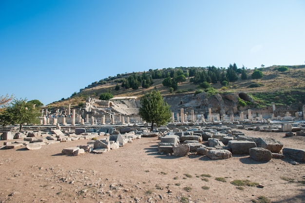 Ruins of the ancient city ephesus, the ancient greek city in turkey, in a beautiful summer day