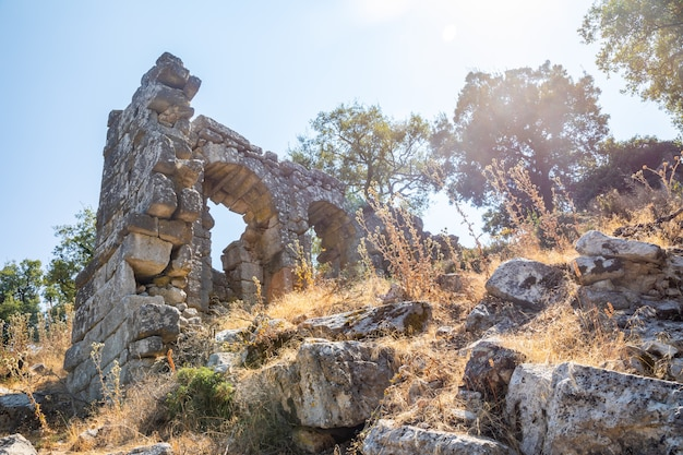 Ruins of the ancient city of termessos without tourists near antalya in turkey