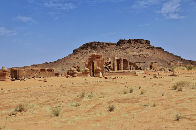 The ruins of an ancient egyptian temple in sahara desert of sudan, nubia