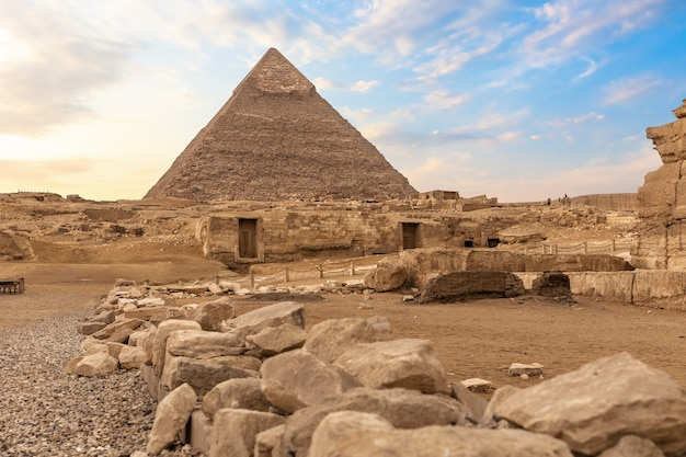 Ruins of ancient giza and the pyramid of chephren, egypt.