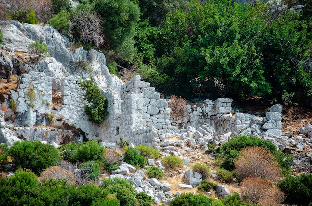 Ruins of the ancient sunken lycian underwater city of dolichiste on the island of kekova.