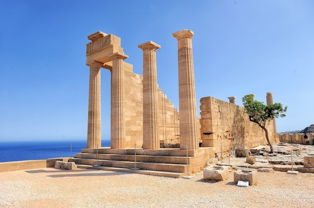 Ruins of ancient temple. lindos. rhodes island. greece