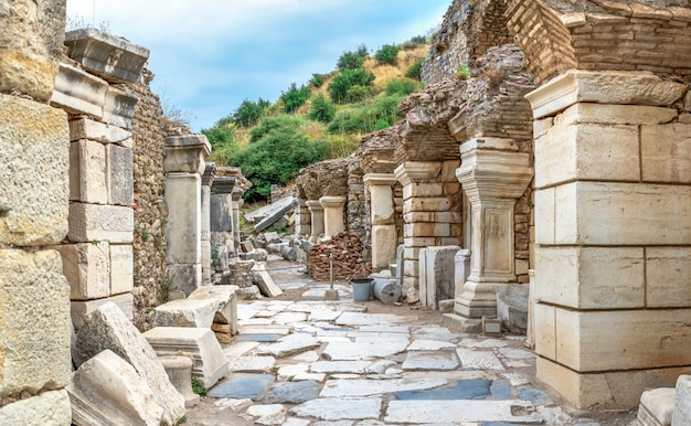 Ruins of antique ephesus in turkey