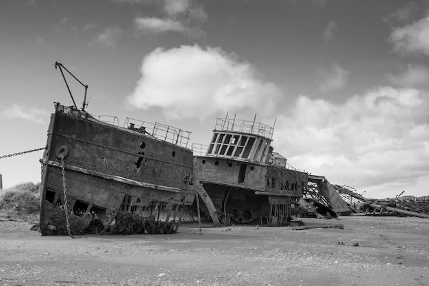 Ruins of british clipper ambassador on the beach, estancia san gregorio, patagonia, chile