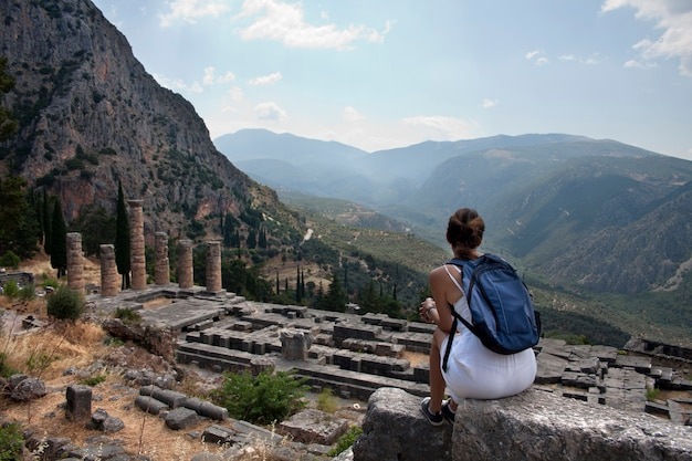 Ruins of delphi under a sky with clouds