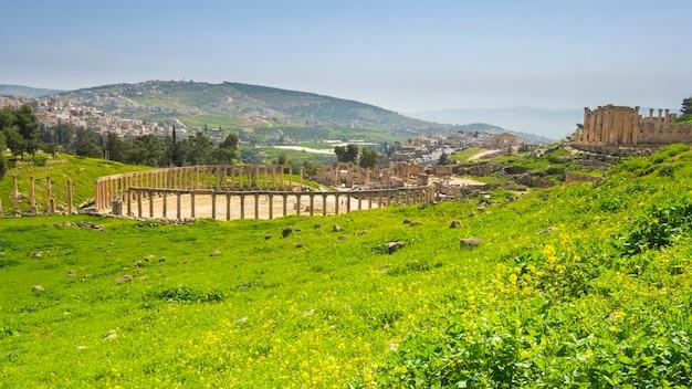 녹색 초원에 화창한 봄 날에 요르단 제라시의 고대 도시 유적