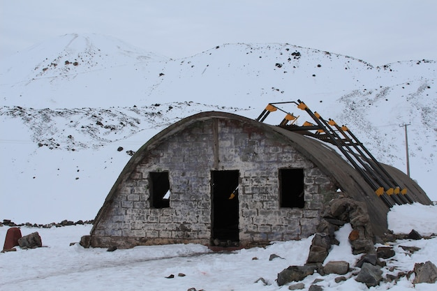 Ruins of military bunkers in the mountain range