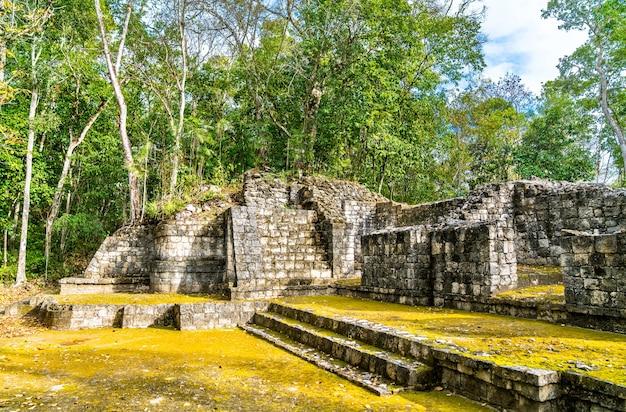 メキシコ、カンペチェのバラムク遺跡にあるマヤのピラミッドの遺跡