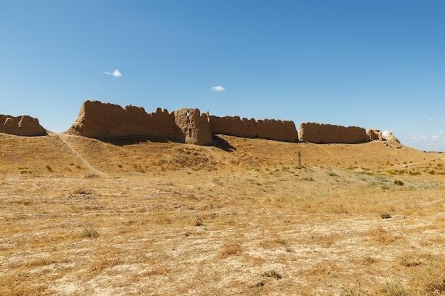 カザフスタン南部の古代都市サウランまたはサウランの遺跡。要塞の壁の一部。