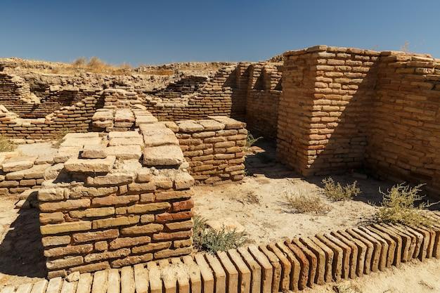 カザフスタン南部の古代都市サウランまたはサウランの遺跡。