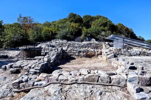 Halkidiki 그리스의 고대 stageira 도시 유적