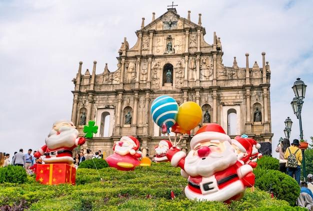 세인트 폴의 유적입니다. 마카오에서 가장 유명한 랜드마크 중 하나이자 드론으로 찍은 멋진 유네스코 세계 문화 유산.
