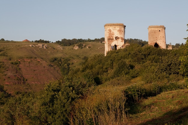 The ruins of an old castle in the village of chervonograd. ukraine