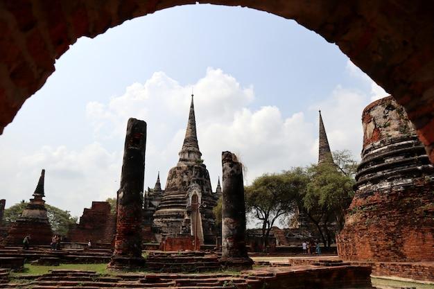 Ruins pagoda of wat chai wattanaram temple, heritage at ayutthaya, thailand.