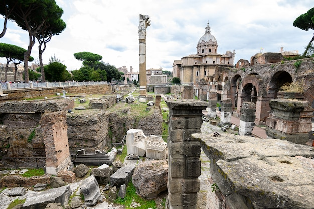 Ruins of the roman forum. the historical open-air museum. rome, italy