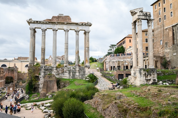 Ruins of the roman forum. the historical open-air museum.