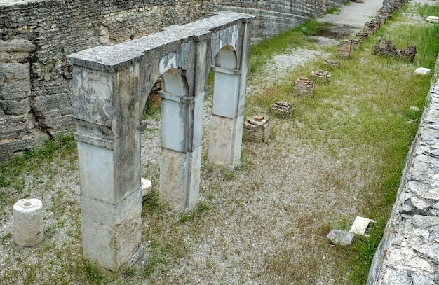 Ruins of roman villa grottoes of catullus in sirmione at lake garda in itlay in the summer