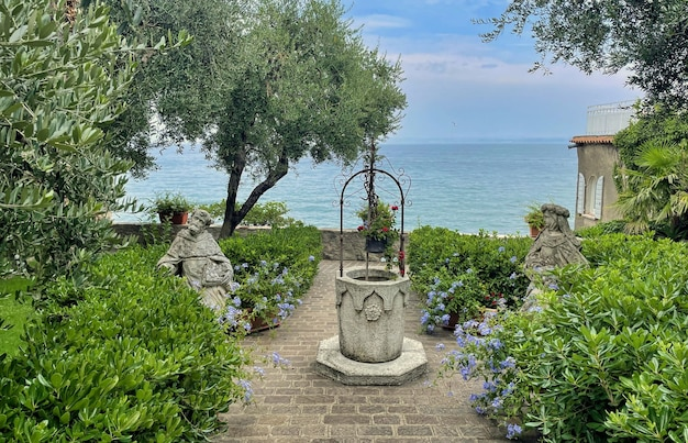 Ruins of roman villa grottoes of catullus in sirmione at lake garda in itlay