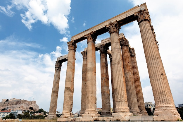 Ruins of temple in athens city, greece