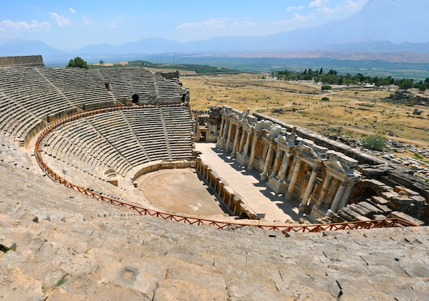Ruins of theater in ancient hierapolis now pamukkale turkey