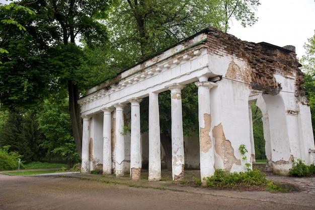 Ruins with columns in alexandria park, ukraine