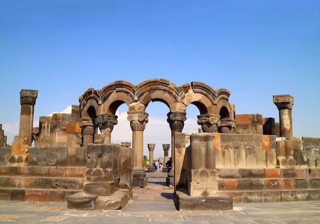 Ruins of zvartnots cathedral dedicated to st gregory vagharshapat city armenia