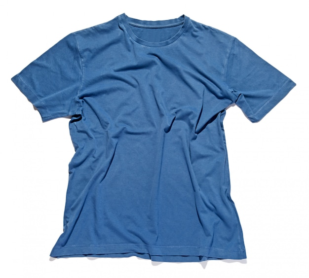 Rumpled and crinkled blue cotton t-shirt
