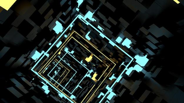 Обои для рабочего стола run in box light tunnel в стиле ретро и научной фантастики.