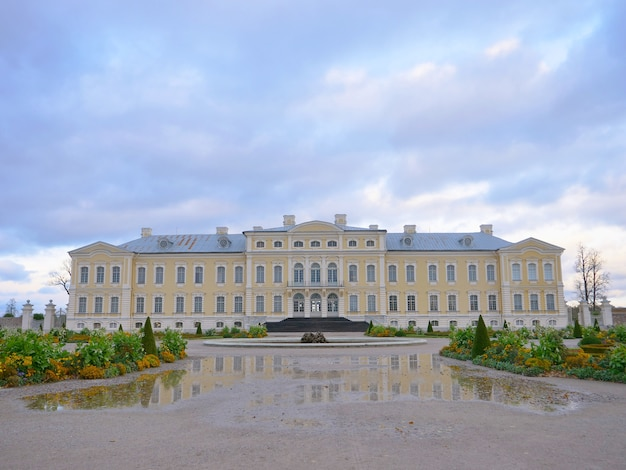 Rundale palace garden landscape view in latvia.