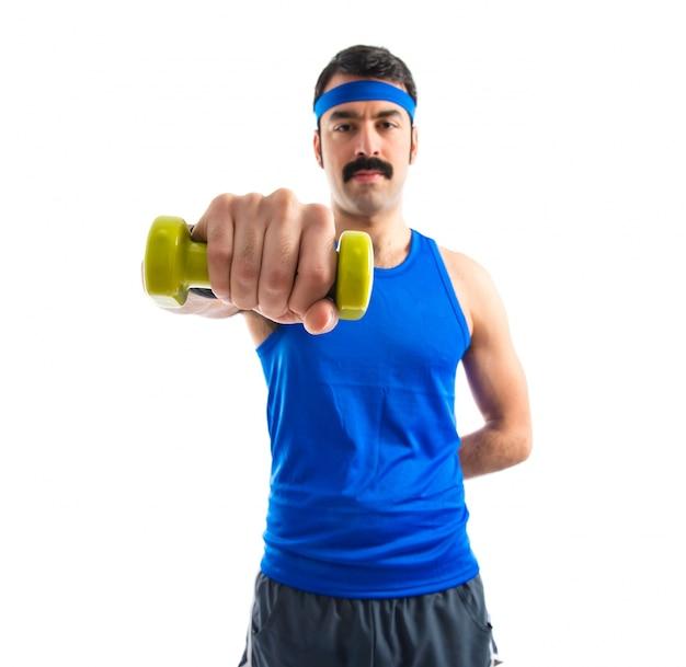 Runner doing weightlifting