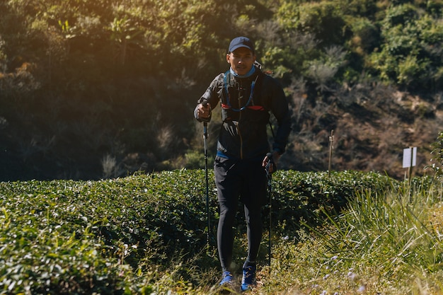 Runners. young people  trail running on a mountain path. adventure trail running on a mountainlifestyle.