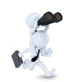Бегущий бизнесмен с биноклем. концепция поиска работы. изолированные