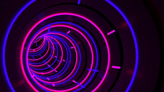 Running in neon light circle tunnel wallpaper in retro and fashion party scene.