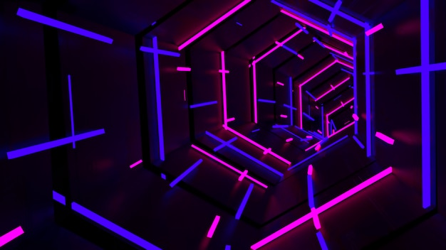 Running in neon light hexagon tunnel