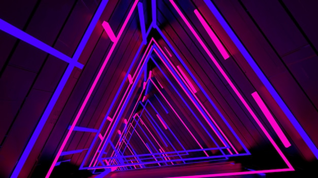 Running in neon light triangle tunnel wallpaper in retro and fashion party scene.